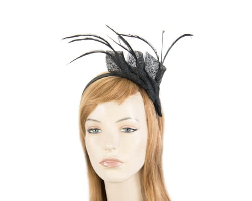 Fascinators Online - Petite black sinamay fascinator with feathers by Max Alexander 1