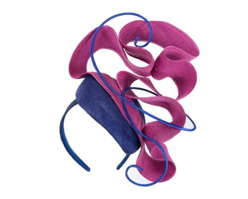 Fascinators Online - Designers royal blue & fuchsia racing fascinator by Fillies Collection 2