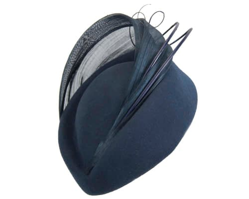 Fascinators Online - Navy felt ladies fashion beret hat with feather by Fillies Collection 2