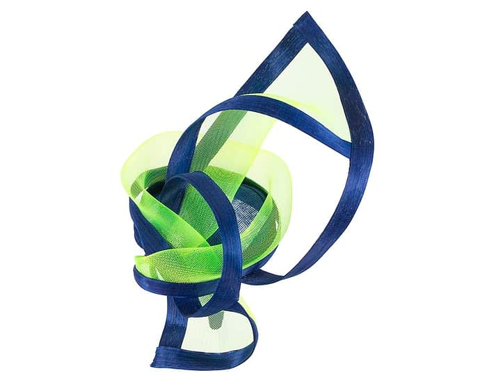 Fascinators Online - Edgy royal blue & lime fascinator by Fillies Collection 3