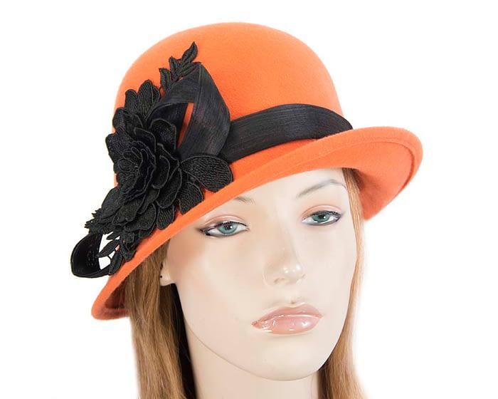 Fascinators Online - Exclusive orange felt cloche hat with lace by Fillies Collection 1