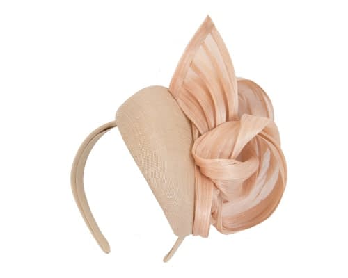 Fascinators Online - Nude pillbox fascinator with silk bow by Fillies Collection 2
