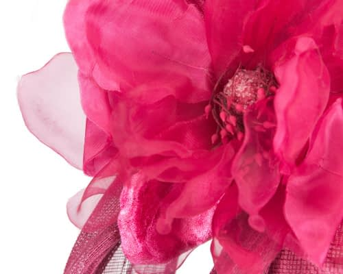 Fascinators Online - Fuchsia pillbox fascinator with large flower by Fillies Collection 5