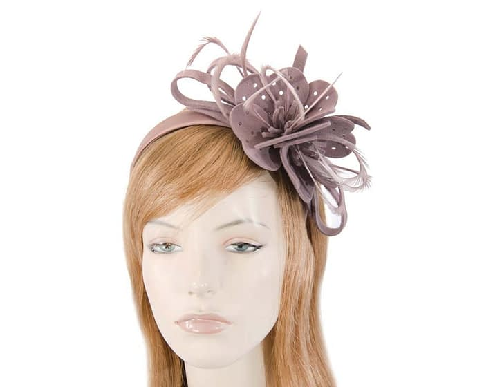 Fascinators Online - Dusty Pink felt flower and feathers winter fascinator 1