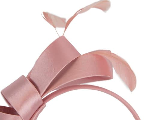Fascinators Online - Dusty pink satin bow racing fascinator with feathers by Max Alexander 3