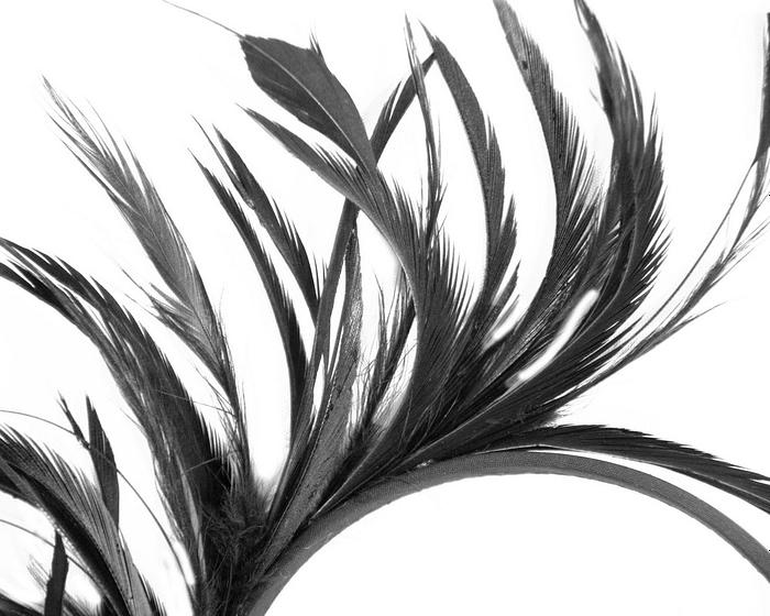 Fascinators Online - Black feather fascinator headband by Max Alexander 3