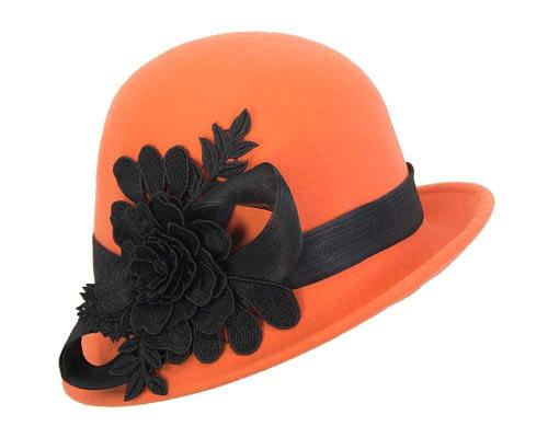 Fascinators Online - Exclusive orange felt cloche hat with lace by Fillies Collection 2