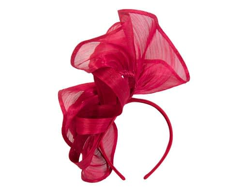 Fascinators Online - Red sculptured silk abaca fascinator by Fillies Collection 4
