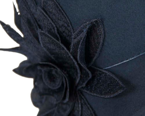 Fascinators Online - Navy felt cloche hat with lace by Max Alexander 4