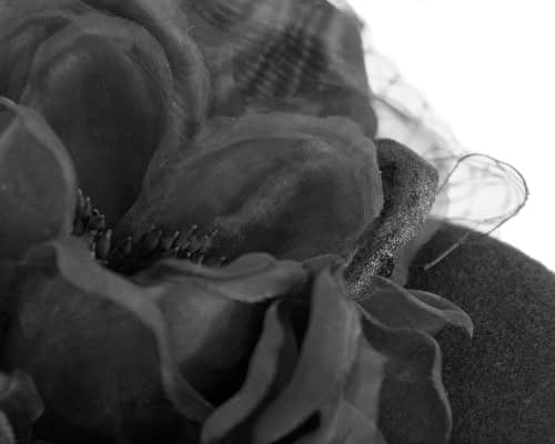 Fascinators Online - Black pillbox fascinator with flower by Fillies Collection 5