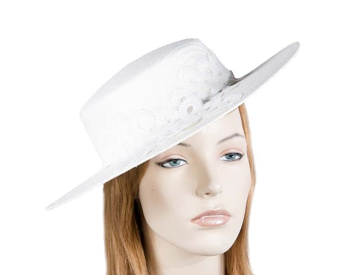 Fascinators Online - White fashionable boater hat with lace 1
