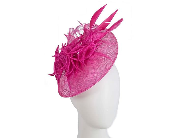 Fascinators Online - Fuchsia racing fascinator with feathers by Max Alexander 1
