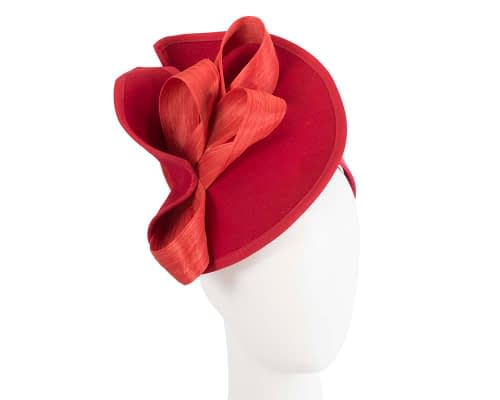 Fascinators Online - Red felt twist with orange bow by Fillies Collection 1