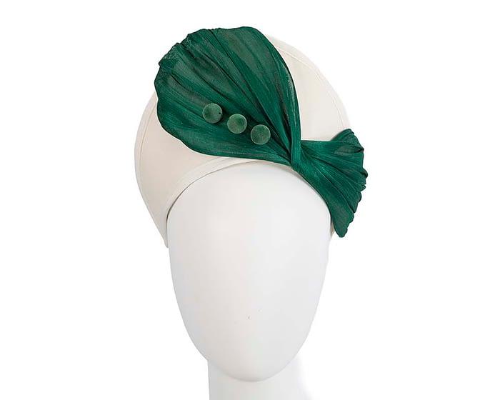 Fascinators Online - Cream & green felt crown fascinator by Fillies Collection 1