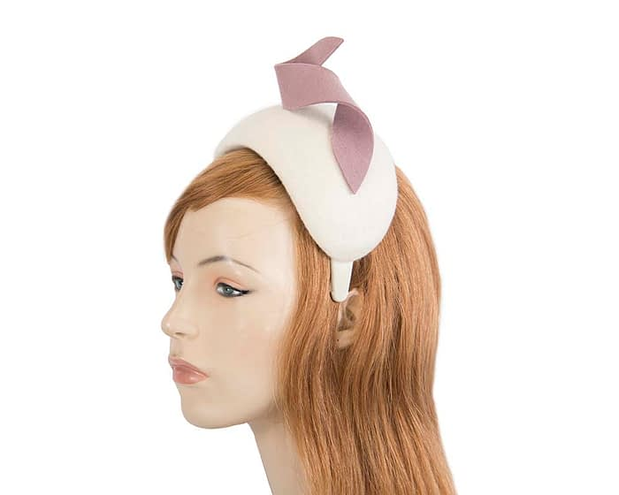 Fascinators Online - Wide cream & nude designers headband winter fascinator by Max Alexander 2