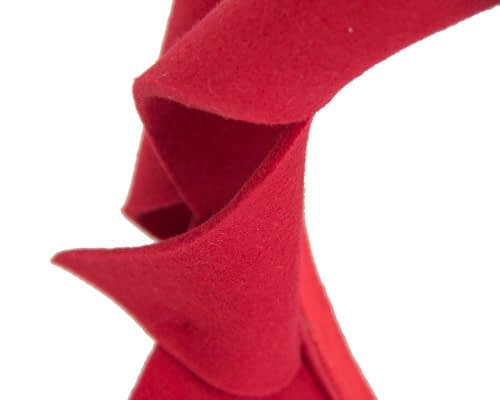 Fascinators Online - Red felt twisted fascinator by Max Alexander 3