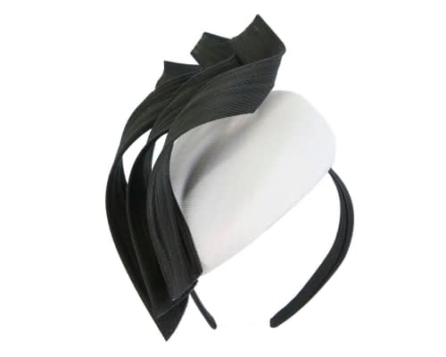 Fascinators Online - White & black pillbox racing fascinator with jinsin trim by Fillies Collection 2