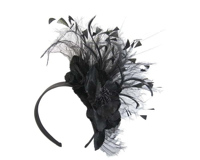 Black flower fascinator