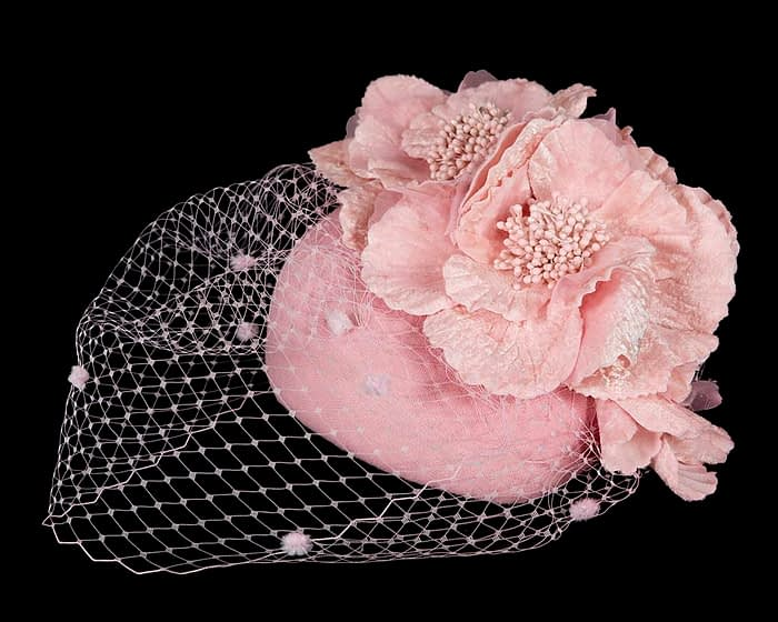 Fascinators Online - Pink Australian Made winter pillbox by Fillies Collection 2