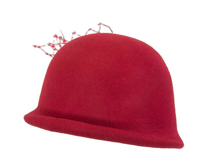 Fascinators Online - Red felt bucket hat from Fillies Collection 3