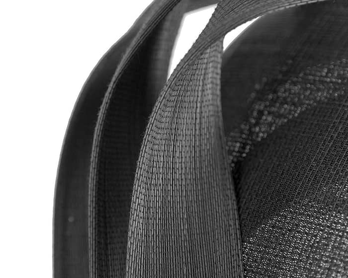 Fascinators Online - Black pillbox racing fascinator with jinsin trim by Fillies Collection 5