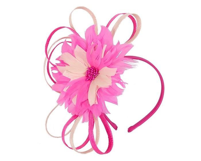 Fascinators Online - Fuchsia & blush feather flower fascinator headband by Max Alexander 2