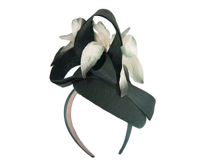 Fascinators Online - Tall green felt pillbox with cream flower by Fillies Collection 6