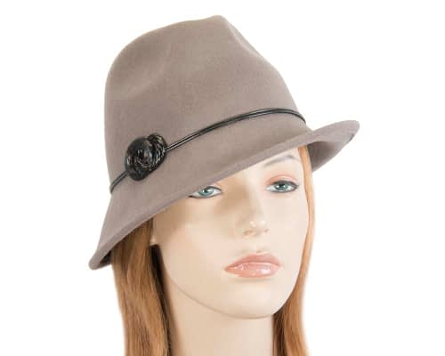Fascinators Online - Grey felt trilby hat by Max Alexander 38