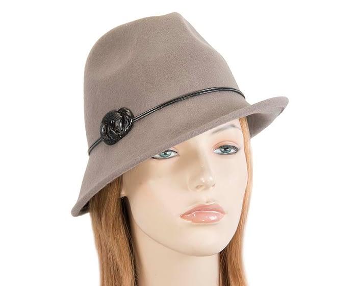 Fascinators Online - Grey felt trilby hat by Max Alexander 1