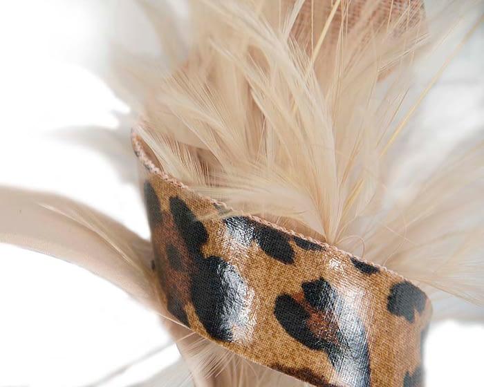 Fascinators Online - Nude & leopard twisted fascinator 3
