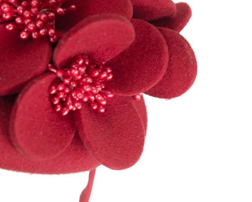 Fascinators Online - Red felt winter pillbox fascinator by Max Alexander 5
