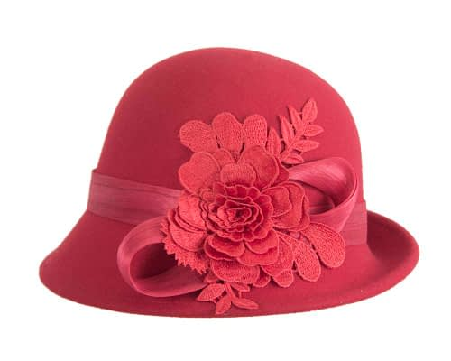Fascinators Online - Exclusive red felt cloche hat with lace by Fillies Collection 4