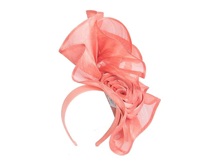 Fascinators Online - Coral sculptured silk abaca fascinator by Fillies Collection 2