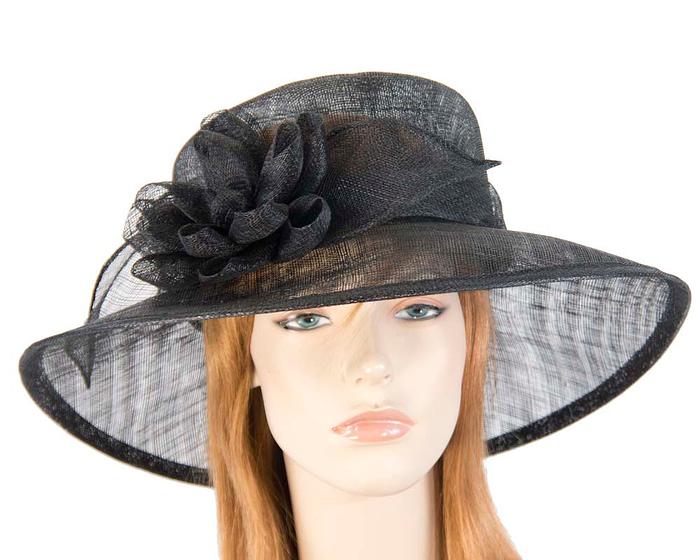 Fascinators Online - Wide brim black sinamay fashion hat by Max Alexander 1