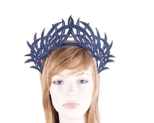 Fascinators Online - Navy lace crown 7