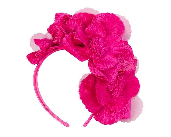Fascinators Online - Bright fuchsia flowers on the headband 2