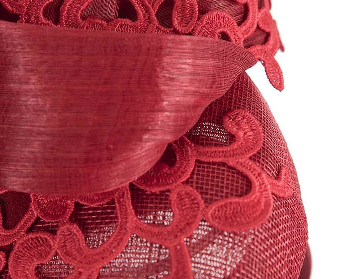 Fascinators Online - Red pillbox fascinator with lace by Fillies Collection 5