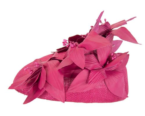 Fascinators Online - Fuchsia leather flower pillbox fascinator by Fillies Collection 3