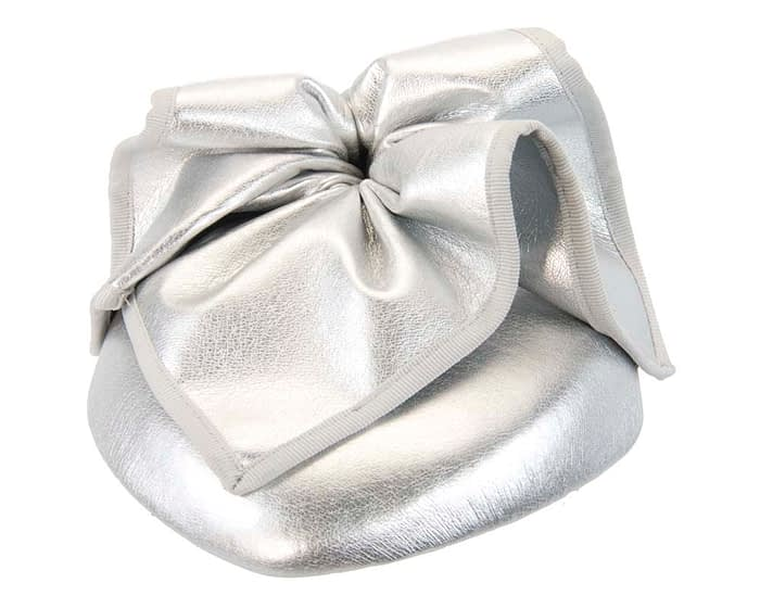 Fascinators Online - Silver leather pillbox fascinator by Max Alexander 2