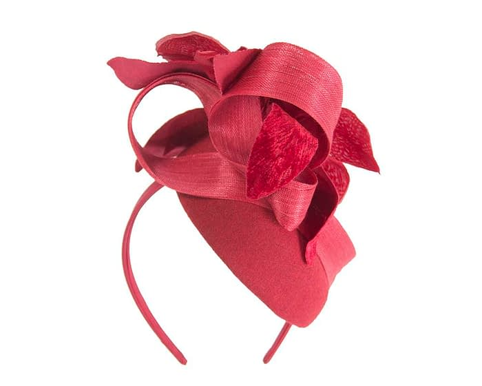 Fascinators Online - Tall red felt pillbox with flower by Fillies Collection 4