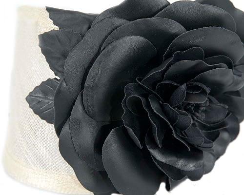 Fascinators Online - Cream black leather flower headband fascinator by Max Alexander 3