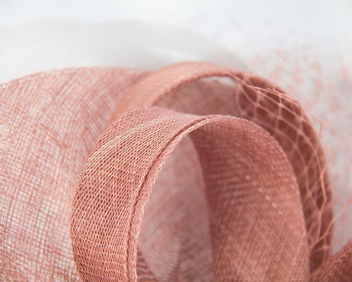 Fascinators Online - Large dusty pink sinamay fascinator by Max Alexander 3