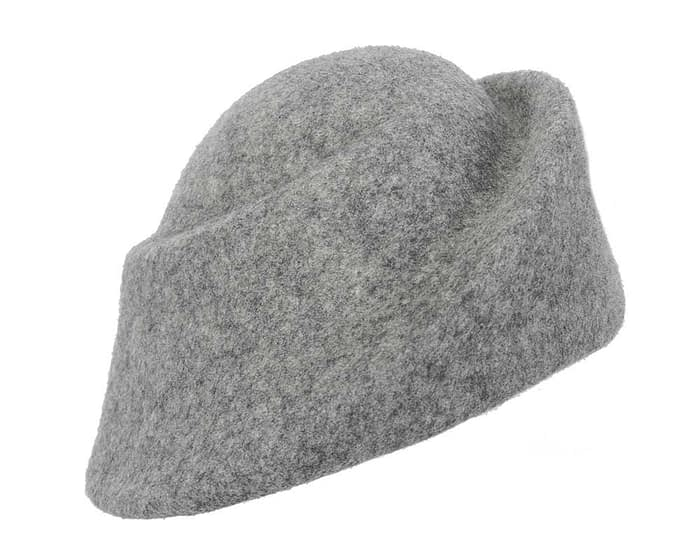 Fascinators Online - Designers grey marle felt hat 2
