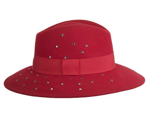 Fascinators Online - Wide brim red felt fedora hat by Max Alexander 5