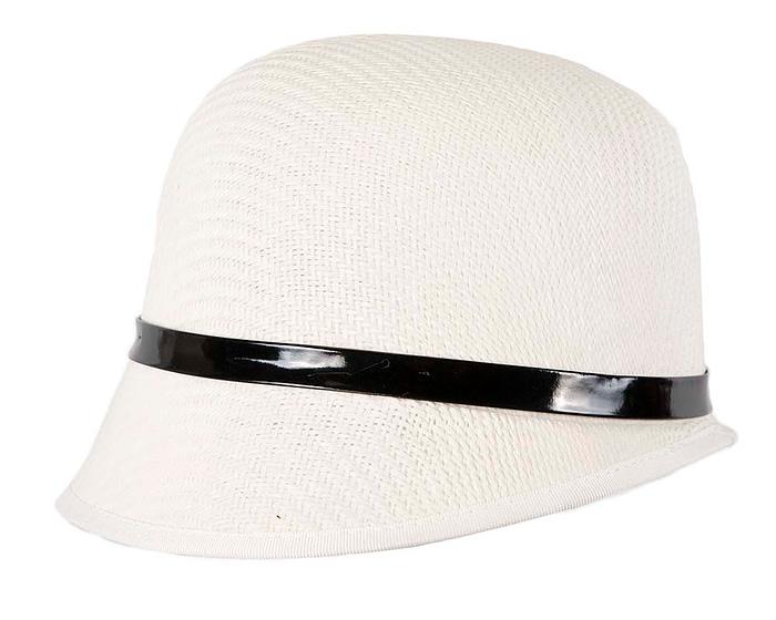 Fascinators Online - White racing cloche bucket hat 2