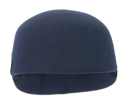 Fascinators Online - Navy felt ladies cap with lace 4