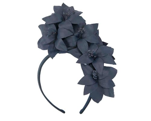 Fascinators Online - Navy leather flower headband by Fillies Collection 2