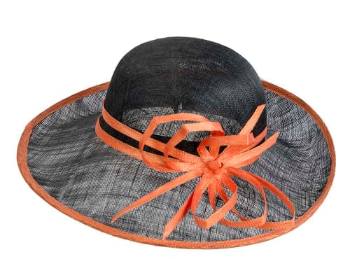 Fascinators Online - Black & Orange ladies sinamay racing hat by Max Alexander 4