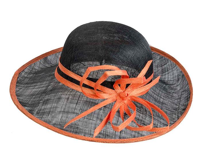 Fascinators Online - Black & Orange ladies sinamay racing hat by Max Alexander 4