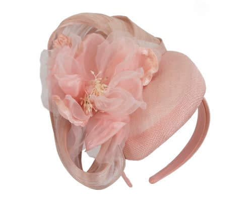 Fascinators Online - Pink pillbox fascinator with large flower by Fillies Collection 2